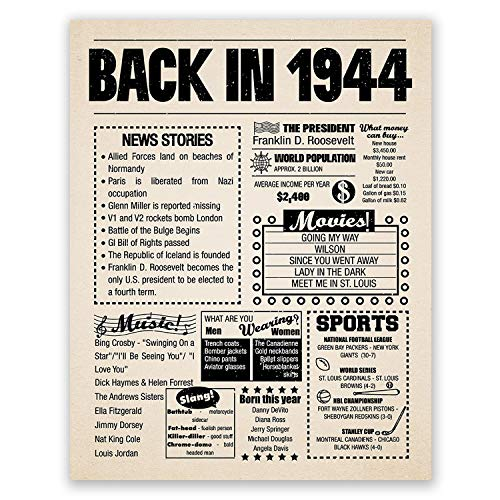 11x14 1944 Birthday Gift // Back in 1944 Newspaper Poster // 75th Birthday Gift // 75th Party Decoration // 75th Birthday Sign // Born in 1944 Print
