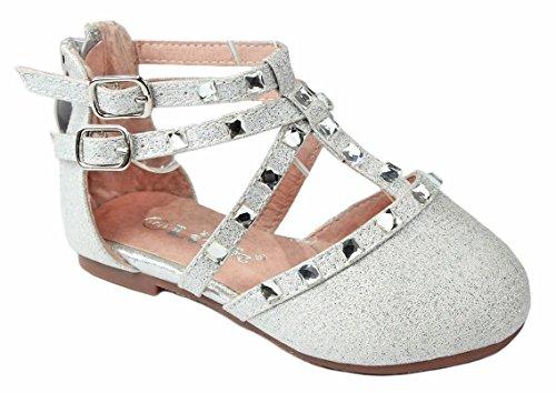 Baby Girls B-61KA Silver Glitter Rhinestone Strap Infant Toddler Ballet Flat Dress Shoes-8