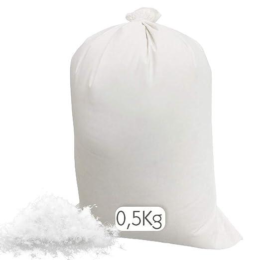 Relleno cojín | Relleno almohada. Relleno de fibra hueca, hipoalergénico, indeformable y lavable. 100% poliéster. Varias medidas. (Relleno / 0,5 kg)