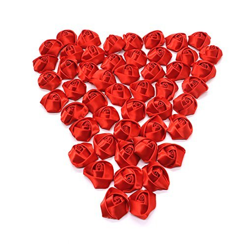 HUELE 50PCS Mini Fabric Artificial Roses Flowers Heads Rosette Flowers For Headdress Flowers Headbands Clips Headbands Hair Accessories (Red)