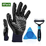 HBPET Pet Grooming Tool for Bath,Pet Shedding Grooming Gloves+Dog Bowl Slow Feeder Lick Pad Wall Mounted+Dematting Comb 2 Sided Undercoat Raker for Dogs and Cats HBTZ2076-4ps