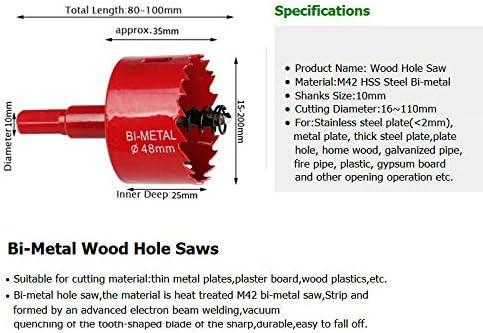 rojo TOOLSTAR sierra perforadora bimetal M42 HSS sierra perforadora 15-200 mm bi-metal perforadora broca perforadora herramienta de corte para madera aluminio hoja de hierro tubo pl/ástico