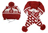 Cat Christmas Reindeer Scarf and Hat Set Costume for Small Pets Puppy,Red Small