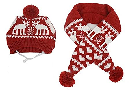 Pet Xmas Costume Accessories Knit Christmas Reindeer Scarf and Hat Set for Pet From Small to Large Red Medium Alemon