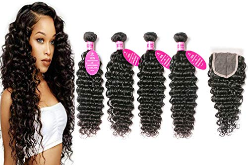 Younsolo Deep Wave Bundles with Closure 8A Virgin Hair 4 Bundles with Closure Brazilian Deep Wave Hair with 4x4 Free Part Closure Unprocessed Virgin Human Hair(20 22 24 26 +18, Natural Color)