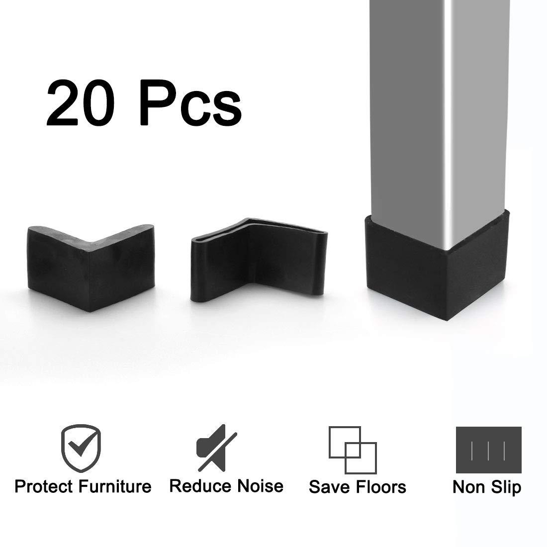 sourcing map Mobili ferro angolo piazzole piede forma L gamba gomma copre 30 x 30mm 10 pz nero