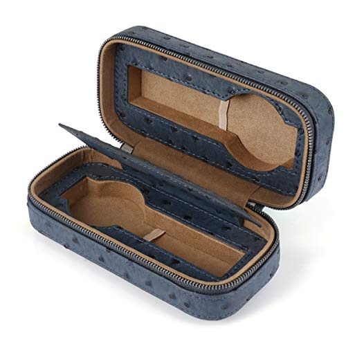 LELADY Watch Box Watch Case for Men Women with 2 Grids, Small Faux Leather Travel Watch Storage Boxes Watch Organizer Holder with Elastic Straps to Collect 2 Watches, Dark Blue