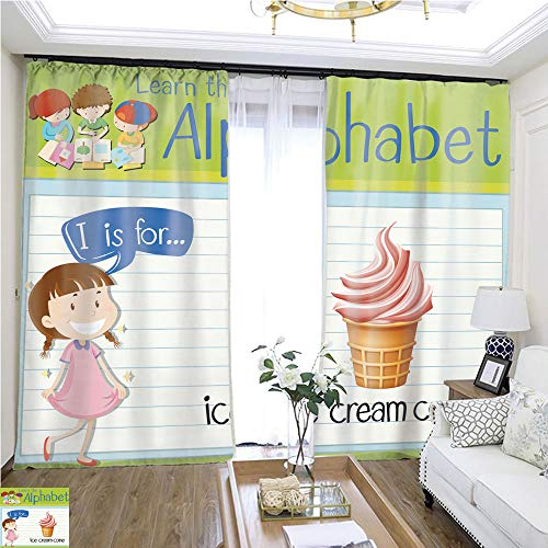 Fashion Curtain Flashcard Letter I is for ice Cream Cone W96 x L240 Shade Curtain Set Highprecision Curtains for bedrooms Living Rooms Kitchens -