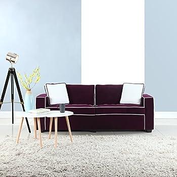 Amazon.com: Mid Century Modern Linen Fabric Living Room Sofa (Purple ...
