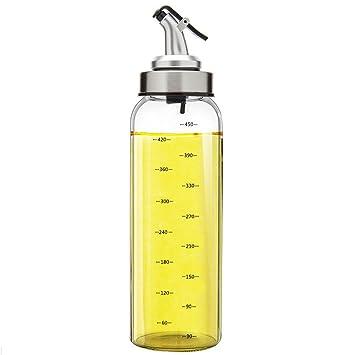 Fyuan 1pcs Dispensador de aceite de oliva y vinagre - 17 oz Botellas de cristal transparente
