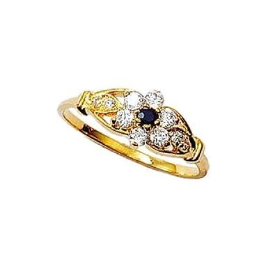 So Chic Bijoux © Bague Femme Fleur Saphir   Oxyde de Zirconium Anneau  Plaqué Or 750 78b441fd4630