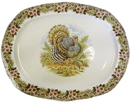 Churchill China Thanksgiving Turkey Multi Colors Turkey Platter
