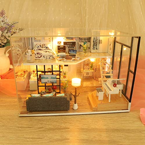 Transser DIY House Miniature Dollhouse Kits Miniature Loft Handmade House with Furniture, Birthday Gift for Kids Adults (with dust cover)]()