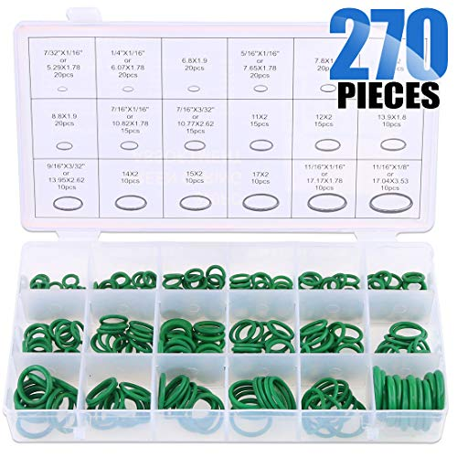 - Glarks 18 Sizes 270Pcs Rubber O-Ring Car Auto Vehicle Repair Air Conditioning Compressor Seals Assortment Kit(Green)
