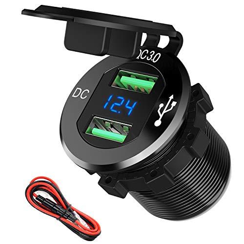 12V USB Outlet, SunnyTrip 12V/24V 36W Aluminum Waterproof Dual QC3.0 USB Fast Charger Socket Power Outlet Adapter w/LED Digital Voltmeter for Car, Marine, Boat, Motorcycle, Truck, Golf Cart, etc