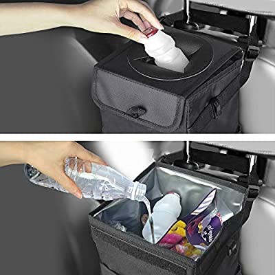 Frebw Car Trash Can with Lid, Car Trash Bag Hanging for Headrest,Car Garbage Bag Organizer with Storage Pockets,Collapsible and Portable Car Organizer,Proof Vinyl Inside Lining (1.58 gal): Automotive