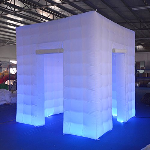 - Sayok Portable Inflatable Photo Booth Enclosure with 17 Multi-Colors Led Lights and Air Blower and Photo Booth Props for Party Wedding(White, Two Doors, 8.2x8.2x8.2ft)
