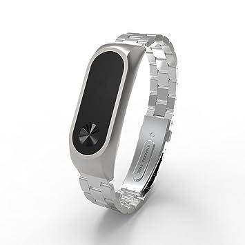 Amlaiworld Correas de Reloj compatibles con Xiaomi Miband 2 Pulseras de Repuesto Correas Pulsera de Acero Inoxidable de Metal