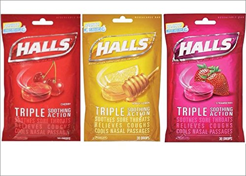 Halls Cough Drops Variety 3-Pack: Cherry, Strawberry & Honey Lemon (3 Packs, 30 Count Each, 90 Drops (Cough Drop Cherry Honey)