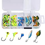 #4: Goture Lead Ice Fishing Jig Kit With Carbon Steel Hooks in Tackle Box, 5 Types, Pack of 40