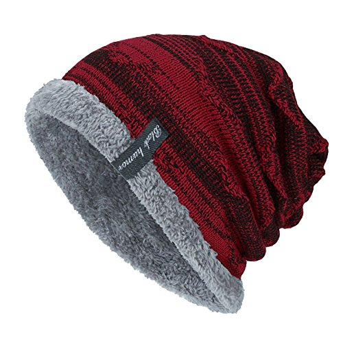 Sinma Unisex Winter Warm Thick Knit Beanie Cap Casual Hedging Head Hat (Wine Red)
