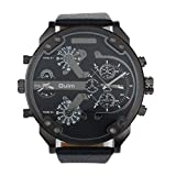 Nolia® Oulm Men Watch Luxury Military Army Dual Time Quartz Large Dial Wrist Watch(Black)