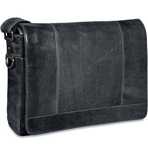 Jack Georges Voyager Collection Full Size Leather Messenger Bag in Slate ()