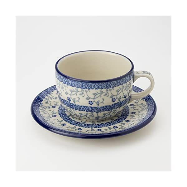 Polish Pottery Teacup and Saucer – Forget-me-not – 200ml