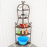Room shelf, iron triangle floor corner frame, iron bathroom bathroom, corner washbasin shelf, storage rack,Five layers = bronze