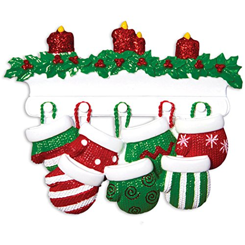 (Personalized Mitten Family of 7 Christmas Tree Ornament 2019 - Knit Winter Stocking Gloves Mantle Candles Parent Children Friend Glitter Gift Tradition First Year - Free Customization (Seven))