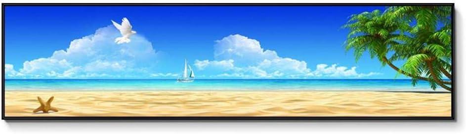 FSKV Wohnzimmer sofa wanddekoration malerei einzigen horizontalen druck wandbild schlafzimmer malerei nacht malerei warmen ozean landschaft 120X30 CM