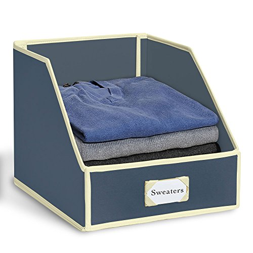 """Great Useful Stuff G.U.S """"Drop Front"""" Closet Storage Bins: Organize Sweaters, Jeans and Shirts Orion with Ivory -"""