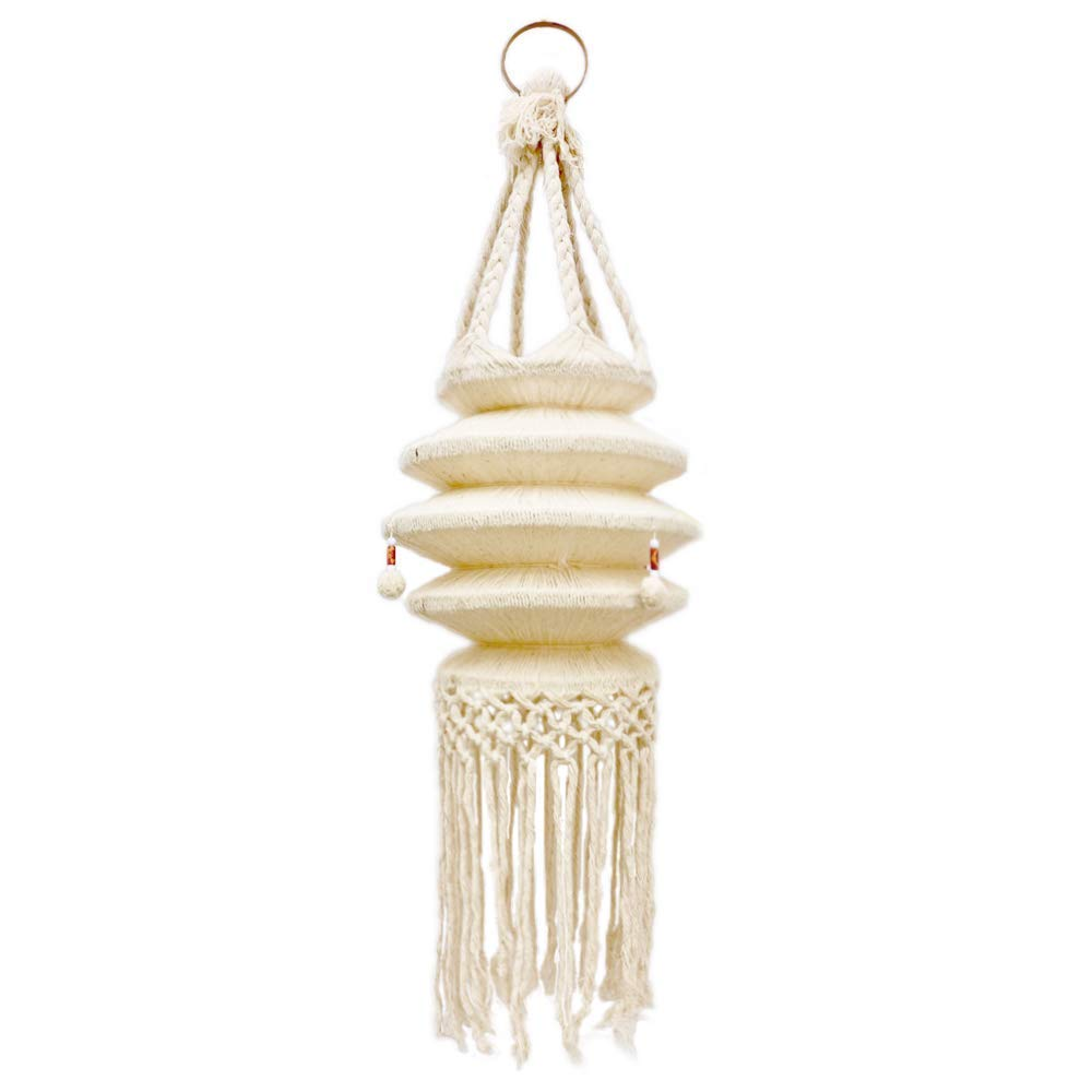 Simple P Macrame Hanging Hanger Lantern Cotton Rope Ceiling Pendant Boho Bohemian Handwoven Hippie Style for Home Indoor Outdoor Living Room Bedroom Natural Decorative