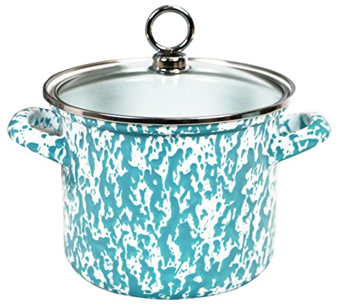 Calypso Basics by Reston Lloyd Vintage Marble Enamel on Steel Stockpot with Glass Lid, 1.5-Quart, - Cookware Stone Marble Living