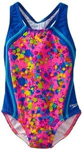 Speedo Big Girls'  Spectacular Splatter One Piece Swimsuit Sport Splice, Pink, 8