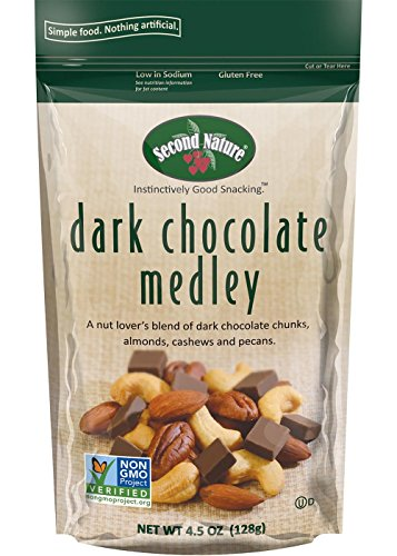 Free Dark Chocolate Pecan - Second Nature Dark Chocolate Medley Trail Mix Healthy Snack - A Nut Lover's Blend of Dark Chocolate Chunks, Almonds, Cashews & Pecans - Non GMO, 4.5 oz Bag (Pack of 12)