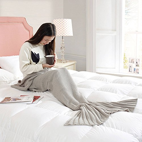 Formula Teen Adults Mermaid Wearable Tail Knitted Cuddly Sleep Blanket for Girls- Grey