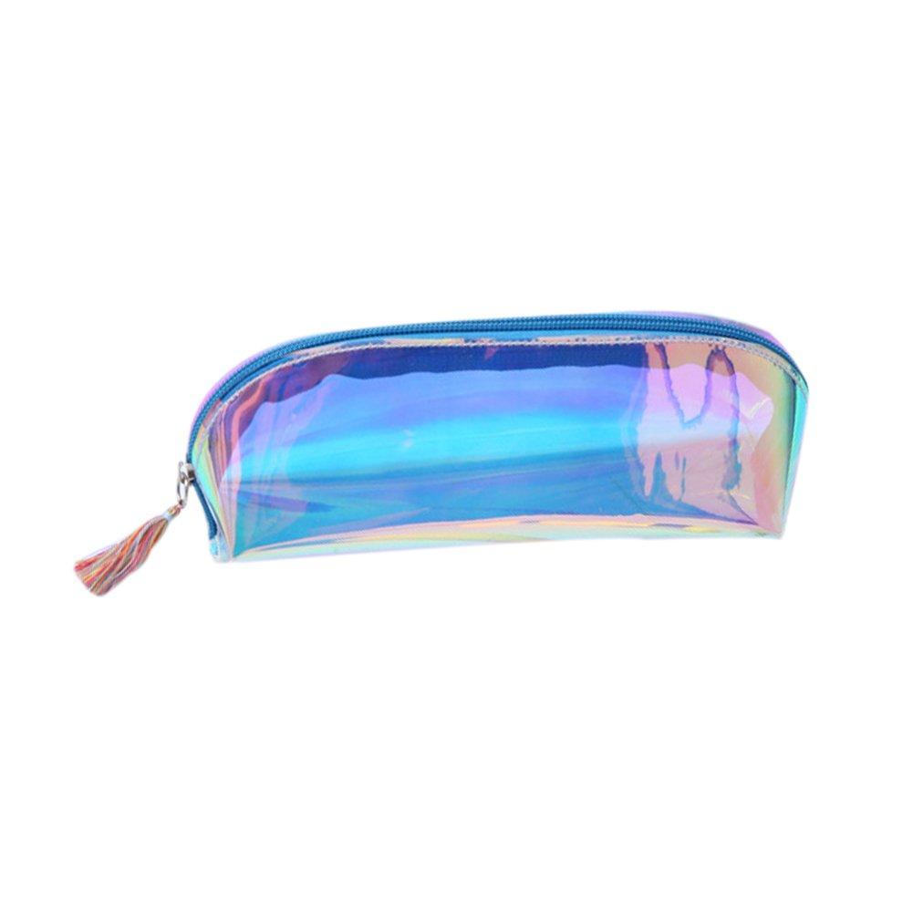 CAOLATOR Bunt Federmappe Glänzende Farbe Stiftemappe Täschchen Vielverwenbar als Kosmetiktäschchen Schminktasche Rosa