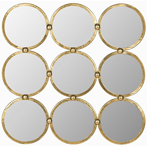 Safavieh Home Collection Circles in The Square Mirror, Antique Gold