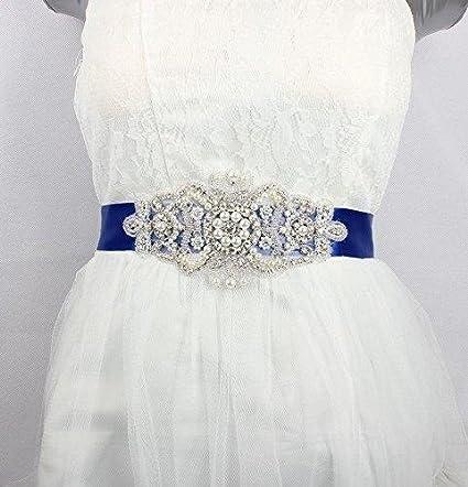 shinybeauty de vestido de fiesta vestido de novia cinturón Vintage Bridal Sash cristal Applique ra286
