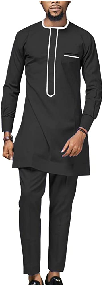africa-pride Men's Shirt Suit Dashiki Tops Blouse And Ankara Pants Set