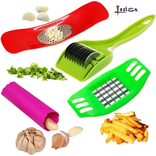 Lasten 4 Pcs Kitchen Gadgets, Garlic Press Rocker, Silico...