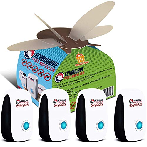 EcoBugBye Natural Ultrasonic Pest Repeller Indoor - 4 Pack Pest Control, Electronic Plug-in Repellent for Insects, Rodents, Mice, Rats, Roaches, Spiders, Flies, Ants, Eco-Friendly, Humans&Pets Safe ()