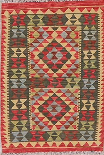 New Oriental Kilim Rug 3x4 Wool Hand-Woven Geometric Area Rug Turkish Carpet (4' 0'' X 2' 8'')