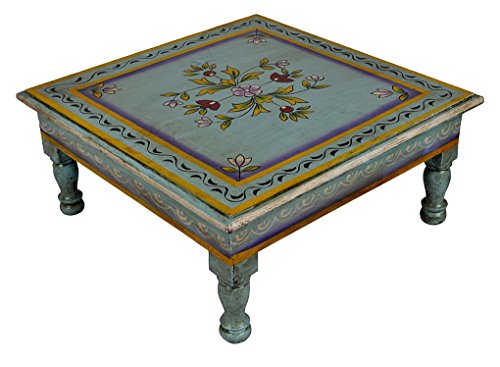 Home Decorative Floral Hand Painted Work Design Wooden Footstool Indian Bajot Chowki Table 13 X 13 X 5.5 Inch (Painted Table Art Deco)