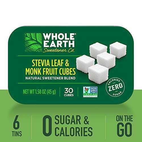 Liquid Stevia Tin - WHOLE EARTH SWEETENER Stevia Leaf and Monk Fruit Sweetener Cubes, Erythritol Sweetener, Sugar Cubes and Stevia Drops Sugar Substitute, Zero Calorie Sweetener, 30 Cubes per Tin (Case of 6)