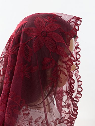 Price comparison product image Burgundy Catholic Chapel Veil - Stunning Lace Mantillas, Catholic Veils and Head Coverings for Mass