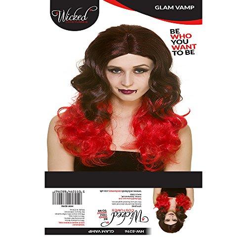 Adultes Dames Perruque Vampire Noir Et Rouge Glam Accessoire Costumée Halloween