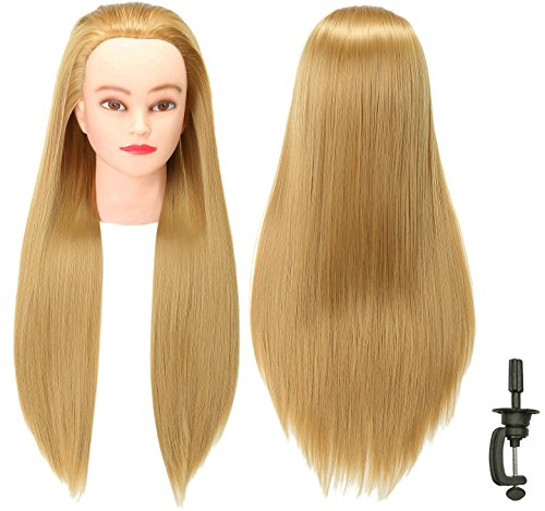 FUTAI 30 Hair Mannequin Head Loong Hair Manikin Head with Perfect Curling with Synthetic Fiber Hair with Stand (Blonde)