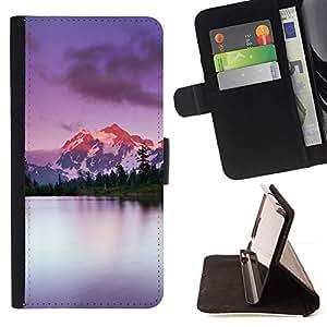 For HTC One M8 Case , Escalar montañas de Alaska Lago Naturaleza- la tarjeta de Crédito Slots PU Funda de cuero Monedero caso cubierta de piel